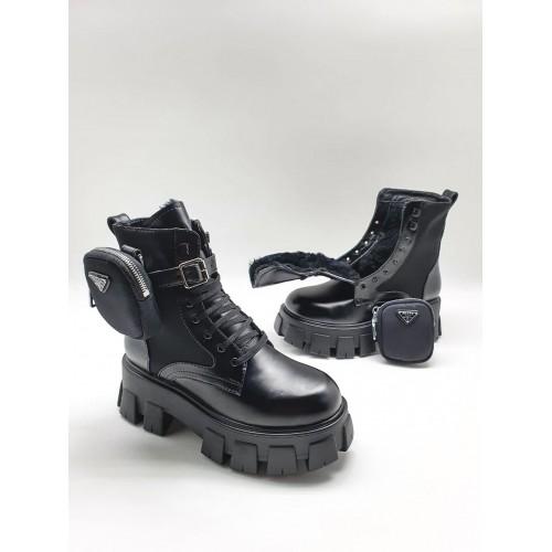 Ботинки с сумочкой зимние женские Prada  - арт.211225